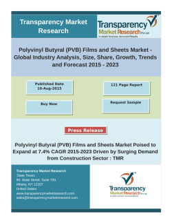 Polyvinyl Butyral (PVB) Films and Sheets Market