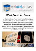 West Coast Archives : Records Management In Los Angeles