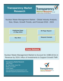 Nuclear Waste Management Market - Global Industry Analysis, Size, Share, Growth Trends, and Forecast 2016 - 2024