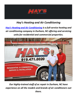 Hay's Heating and Ac Repair In Durham, NC