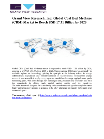Coal Bed Methane (CBM) Market Is Expected To Grow At A CAGR Of 7% From 2014 To 2020: Grand View Research, Inc.