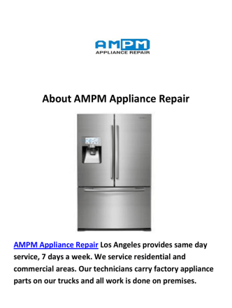 AMPM Appliance Repair in Los Angeles