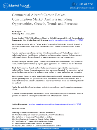 Commercial Aircraft Carbon Brakes Consumption Market Analysis including Opportunities, Growth, Trends and Forecasts to 2021
