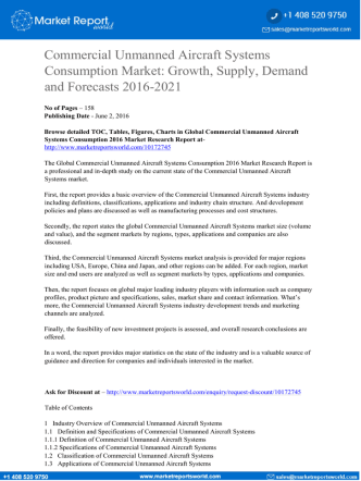 Commercial Unmanned Aircraft Systems Consumption Market: Growth, Supply, Demand and Forecasts 2016-2021