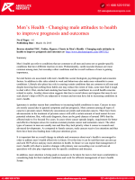 Research Report on Men's Health - Changing male attitudes to health to improve prognosis and outcomes