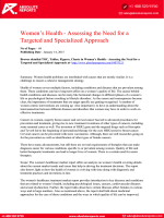 Women's Health Research Report: Assessing the Need for a Targeted and Specialized Approach