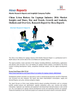 China Li-ion Battery for Laptops Industry 2016 Market Insights, Size and Outlook: Hexa Reports