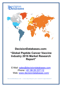 Peptide Cancer Vaccine Market Report -  Global Industry Analysis
