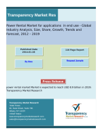 Power Rental Market Segment Forecasts up to 2019, Research Reports:TMR