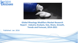 Research On Rheology Modifiers Market Report 2014 to 2021