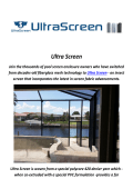 Ultra Screen Enclosures In Tampa Florida
