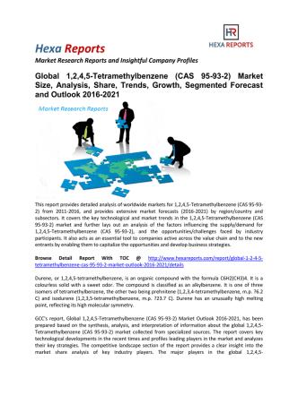 1,2,4,5-Tetramethylbenzene (CAS 95-93-2) Market Segmented Forecast and Outlook