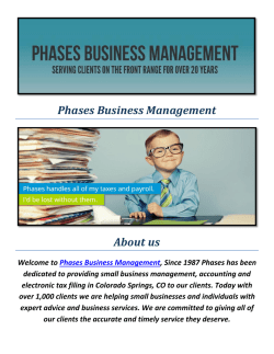 Phases Business Management : File State Taxes Colorado Springs