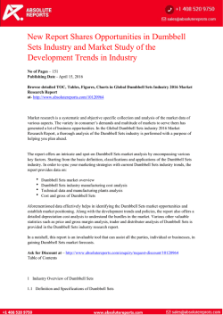 New Report Shares Opportunities in Dumbbell Sets Industry and Market Study of the Development Trends in Industry