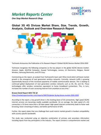 3G 4G Divices Market Analysis, Outlook and Professional Survey Report 2016