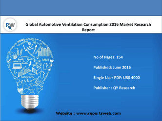 Automotive Ventilation Consumption Industry Report Growth and Forecast 2021