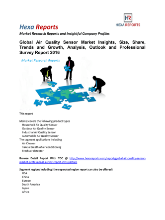 Air Quality Sensor Market Market Analysis, Outlook and Professional Survey Report 2016