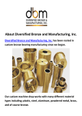 Diversified Bronze Bearing Manufacturing in Cambridge