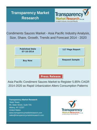 Asia Pacific condiments sauces market is predicted to reach US$8.6 bn by 2020