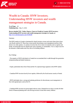 Canadian Wealth Analysis Report 2016: HNW Investors; Understanding HNW Investors and Wealth Management Strategies