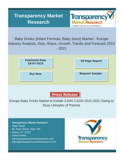 Europe Baby Drinks Market to Exhibit 3.50% CAGR 2015-2021 Owing to Busy Lifestyles of Parents