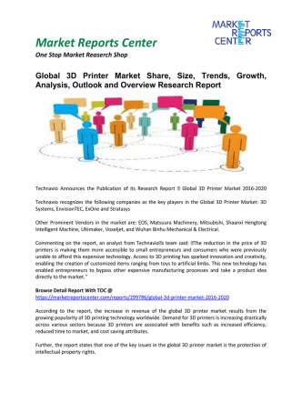 3D Printer Market Growth,Size, Share and Forecasts, 2016-2020