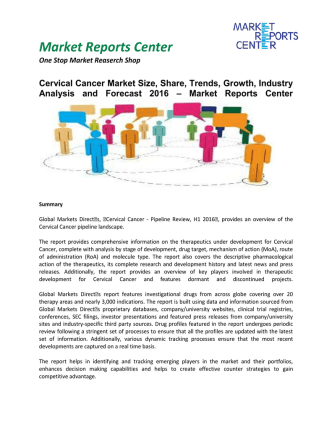Cervical Cancer Market Size, Share, Analysis and Outlook 2016
