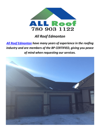 All Roofing Company In Edmonton