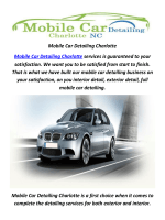 Mobile Car Detailing In Charlotte, NC | (980) 201-4924