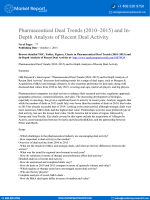 Pharmaceutical Deal Trends (2010–2015) Analysis Report includes In-Depth Analysis of Recent Deal Activities in the Pharmaceutical Industry