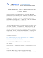 Global Manufacturing Analytics Market Projected to USD 8.45 Billion by 2021