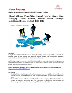 Global Military Fixed-Wing Aircraft Market Is Forecasted Increase To US$ 88.9 Billion By 2026: Hexa Reports