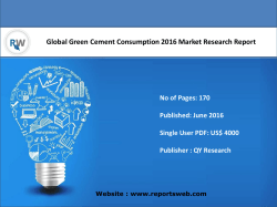 Global Green Cement Consumption Industry Emerging Trends and Forecast 2021