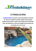 J'S POOLS & SPAS : Custom Pool Builders In Houston