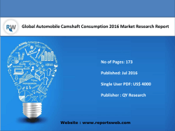 Global Automobile Camshaft Consumption 2016 Market Research Report