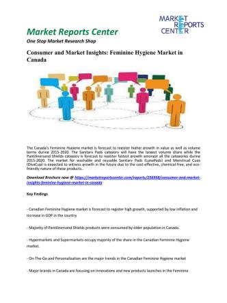 Consumer and Market Insights - Feminine Hygiene Market in Canada