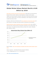 Global Nickel Alloys Market Worth $ 9.85 Billion by 2018