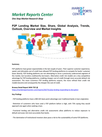 P2P Lending Market Size, Share, Global Analysis, Trends, Outlook, Overview and Market Insights