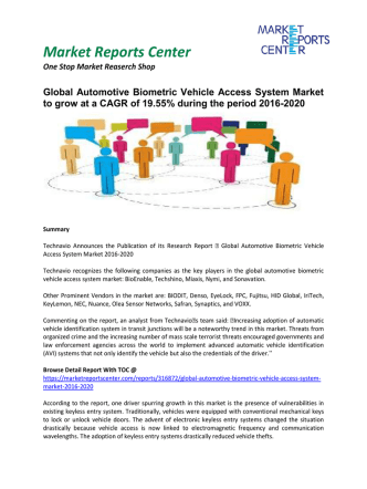 Automotive Biometric Vehicle Access System Market - Opportunities and Forecast, 2016 - 2020
