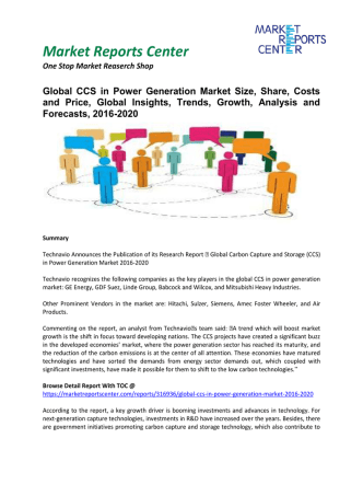 CCS in Power Generation Market Insights, Emerging Trends, Growth and Forecasts, 2016-2020