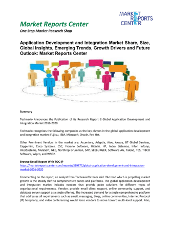 Application Development and Integration Market Growth, Trends, Analysis and Forecast