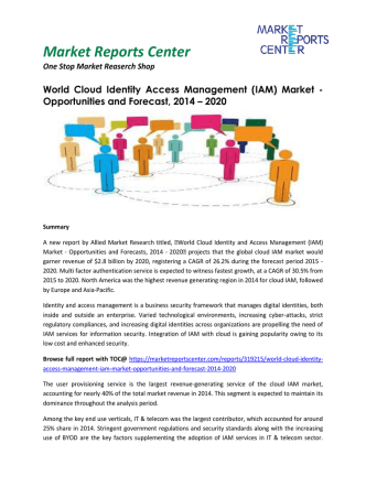 Cloud Identity Access Management Market Growth, Trends, Analysis and Forecast