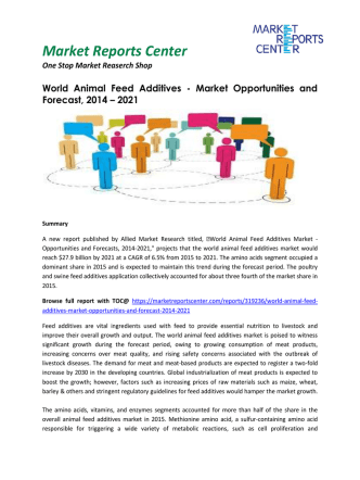 Animal Feed Additives Market Growth, Trends, Analysis and Forecast