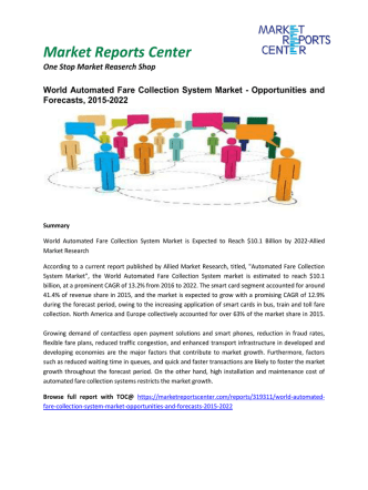 Automated Fare Collection System Market Share, Size, Global Insights and Future Outlook