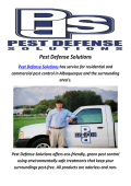 Pest Control In Albuquerque By Pest Defense Solutions