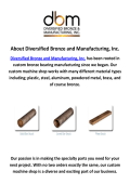 Diversified Bronze Bar Manufacturing in Cambridge, MN