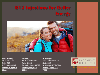 B12 Injections for Better Energy - East West Health Clinic
