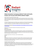 Global Automotive Fuel Injector Market Size, Trends and Forecasts 2016-2020 by Radiant Insights