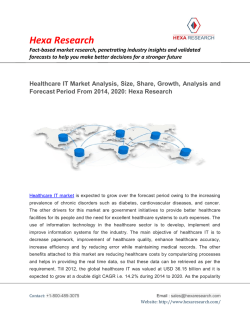 Healthcare IT Market Analysis, Size, Share, Growth, Analysis and Forecast From 2014, 2020: Hexa Research