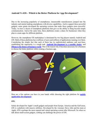 Android Vs iOS – Which is the Better Platform for App Development?